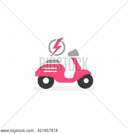 Pink Retro Scooter Or Motorbike With Lightning Bolt Icon. Flat Scooter Isolated On White. Vector Cha
