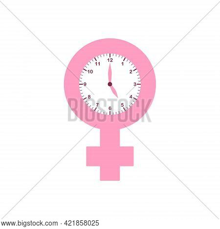 Menopause Pink Icon With Clock. Symbol Of Menopause Period. Female Gender Icon With Menstrual Pause