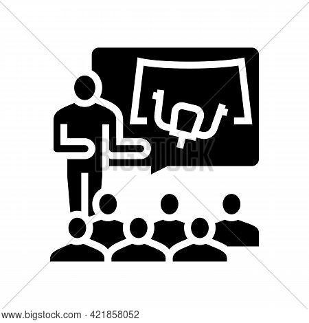 Teacher Teaching In Flight School Glyph Icon Vector. Teacher Teaching In Flight School Sign. Isolate