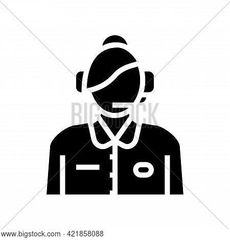 Dispatcher Flight School Glyph Icon Vector. Dispatcher Flight School Sign. Isolated Contour Symbol B