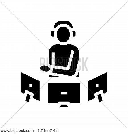 Dispatcher Controlling Flight Way Glyph Icon Vector. Dispatcher Controlling Flight Way Sign. Isolate