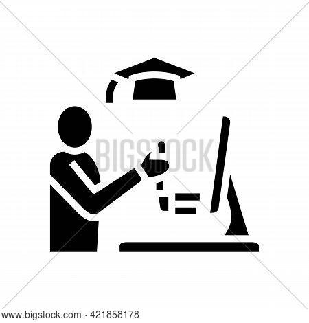 Education Flight Simulator On Computer Glyph Icon Vector. Education Flight Simulator On Computer Sig
