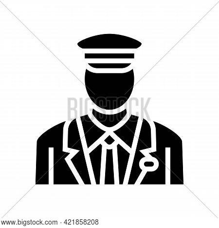 Pilot Flight School Glyph Icon Vector. Pilot Flight School Sign. Isolated Contour Symbol Black Illus