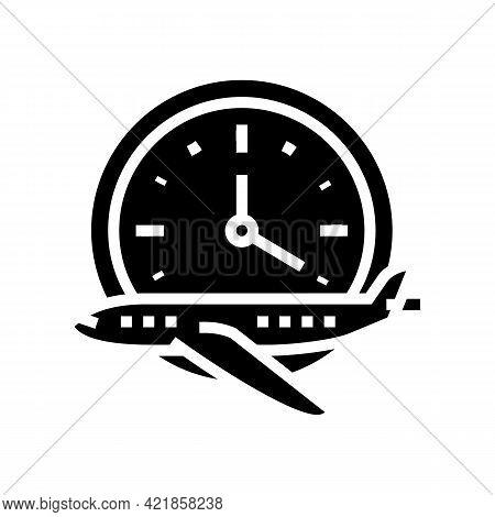Flight Hours School Glyph Icon Vector. Flight Hours School Sign. Isolated Contour Symbol Black Illus