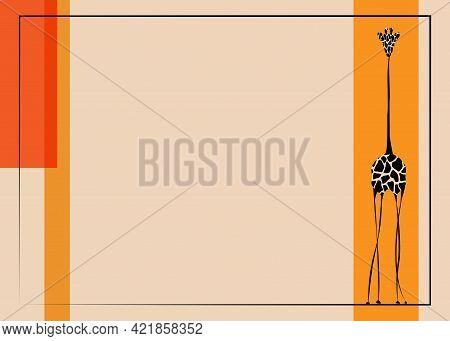 Vector Image The Giraffe Body On The Beige Background, Giraffe Logo, Giraffe Template, Africa Safari