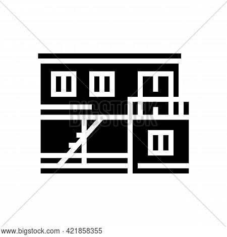 Container Home Glyph Icon Vector. Container Home Sign. Isolated Contour Symbol Black Illustration