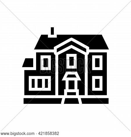 Single Family House Glyph Icon Vector. Single Family House Sign. Isolated Contour Symbol Black Illus