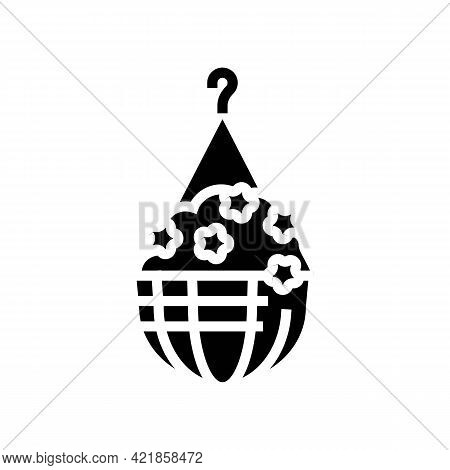 Hanging Potting House Plant Glyph Icon Vector. Hanging Potting House Plant Sign. Isolated Contour Sy