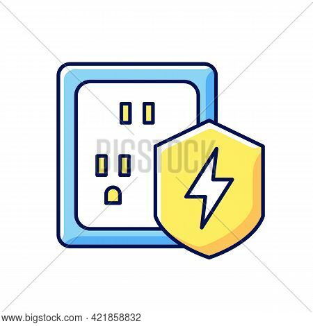 Surge Protection Rgb Color Icon. Electrical Installation Protection. Voltage Spikes Risk Prevention.