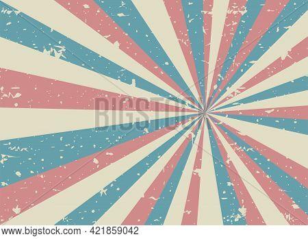 Sunlight Retro Faded Grunge Background. Faded Red, Blue Beige Color Burst Background. Vector Illustr