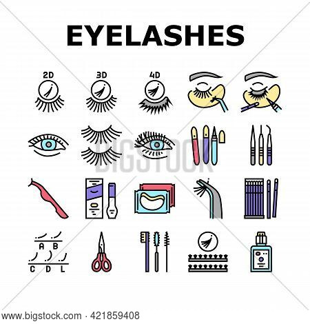 Eyelashes Extension Collection Icons Set Vector. Applying And Correction Eyelashes, Patches And Twee