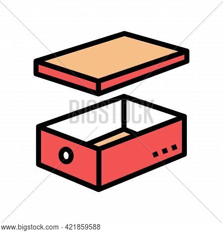 Women Shoes Box Color Icon Vector. Women Shoes Box Sign. Isolated Symbol Illustration