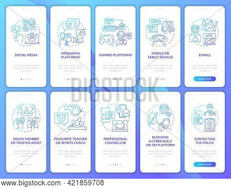 Cyberhumiliation Onboarding Mobile App Page Screen With Concepts Set. Professional Counselling Walkt