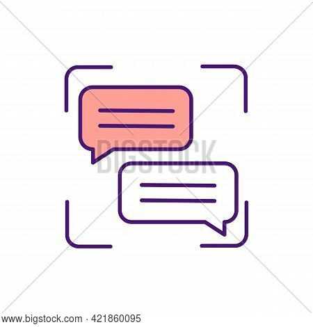 Text Messaging Rgb Color Icon. Chatting, Texting Online. Sending Electronic Messages. Exchanging Ema