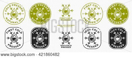 Stamp, Sticker - Cold Pressed Natural Oil. Information Sign. Vector Grouped Elements.