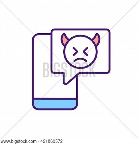 Online Harassment Using Mobile Phones Rgb Color Icon. Cyberbullying Through Text Messages And Apps.