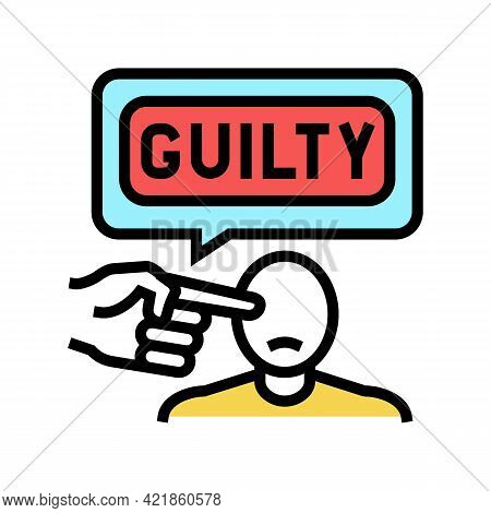 Guilty Law Color Icon Vector. Guilty Law Sign. Isolated Symbol Illustration