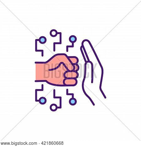 Cyberbullying Prevention Rgb Color Icon. Resisting Harassment In Online Environments. Stopping Aggre
