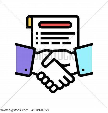 Agreement Lawyer Color Icon Vector. Agreement Lawyer Sign. Isolated Symbol Illustration