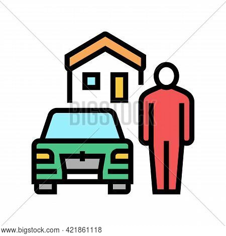 Resting House On Motel Territory Color Icon Vector. Resting House On Motel Territory Sign. Isolated