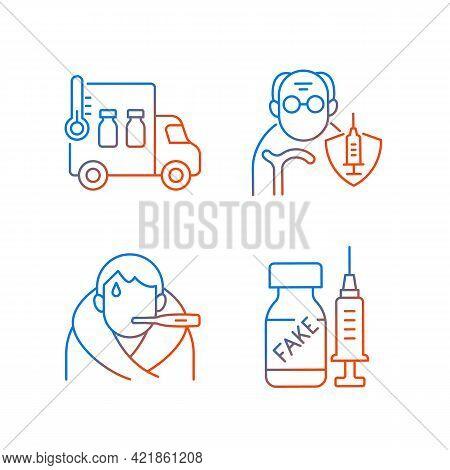 Covid Spread Prevention Gradient Linear Vector Icons Set. Vaccine Distribution. Senior Patient Immun