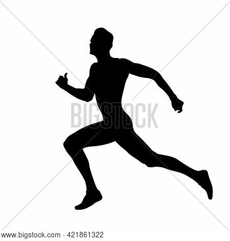 Male Athlete Runner Run Race At Finish Line Black Silhouette