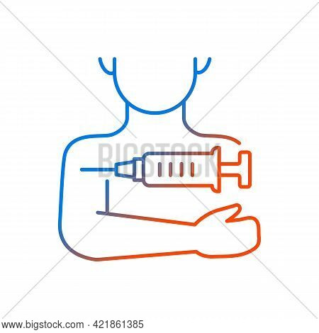 Injection In Arm Gradient Linear Vector Icon. Influenza Clinic Treatment. Drug Inoculation. Vaccine