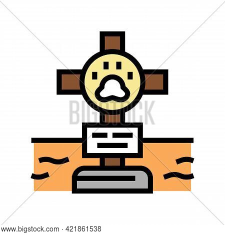 Grave Pet With Cross Color Icon Vector. Grave Pet With Cross Sign. Isolated Symbol Illustration