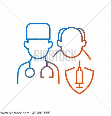 Vaccination Priority List Gradient Linear Vector Icon. Senior Patient With Doctor. Age Group For Vac