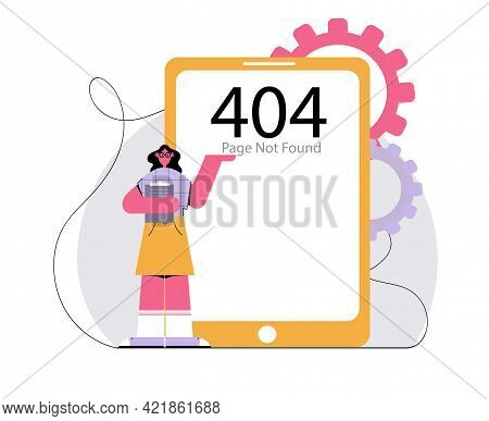 Vector Illustration. Error 404 Web Page Not Found On Tablet Phone