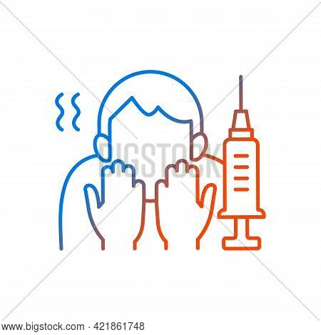 Fear Of Vaccination Gradient Linear Vector Icon. Phobia Of Injection. Afraid Of Syringe Needles. Hea