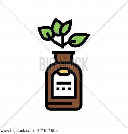 Natural Plant Phytotherapy Medicaments Bottle Color Icon Vector. Natural Plant Phytotherapy Medicame