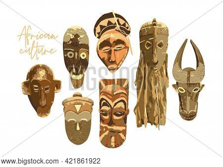 Collection Of African Woodenn Ritual Masks Isolated On White Background.