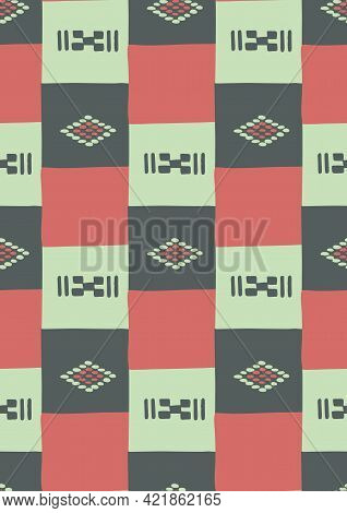 Seamless Pattern Of Traditional African Patchwork Ornament