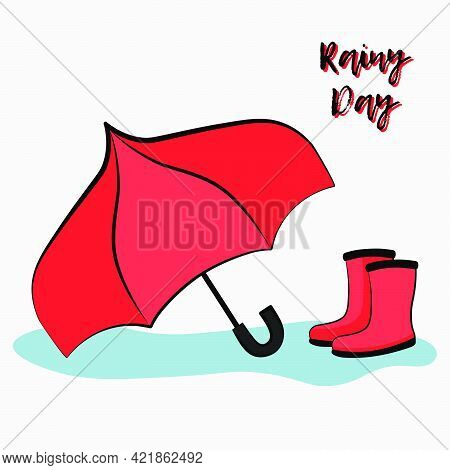 Postcard Vector Flat Llustration Of A Pair Of Red Rainboots And An Umbrella