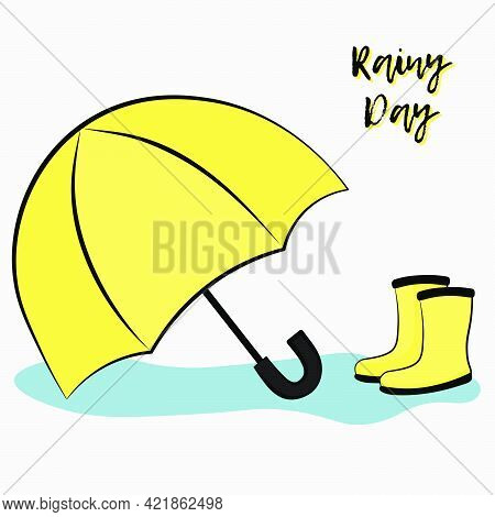 Postcard Vector Flat Llustration Of A Pair Of Yellow Rainboots And An Umbrella