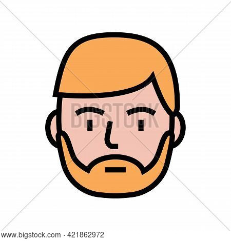 Bearded Man Color Icon Vector. Bearded Man Sign. Isolated Symbol Illustration