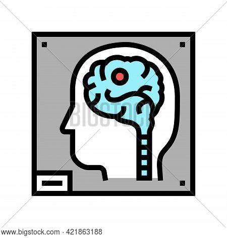 Human Brain X-ray Color Icon Vector. Human Brain X-ray Sign. Isolated Symbol Illustration