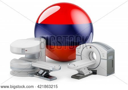 Mri And Ct Diagnostic, Research Centres In Armenia. Mri Machine And Ct Scanner With Armenian Flag, 3