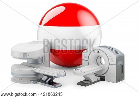 Mri And Ct Diagnostic, Research Centres In Austria. Mri Machine And Ct Scanner With Austrian Flag, 3