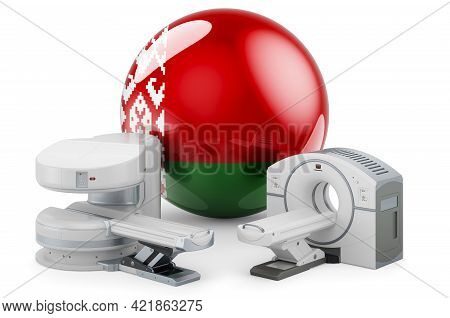Mri And Ct Diagnostic, Research Centres In Belarus. Mri Machine And Ct Scanner With Belarusian Flag,