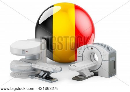 Mri And Ct Diagnostic, Research Centres In Belgium. Mri Machine And Ct Scanner With Belgian Flag, 3d