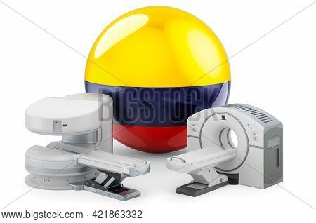 Mri And Ct Diagnostic, Research Centres In Colombia. Mri Machine And Ct Scanner With Colombian Flag,