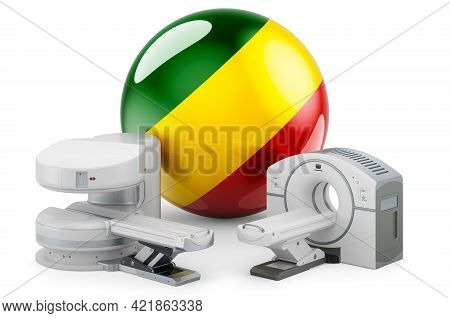 Mri And Ct Diagnostic, Research Centres In Congo. Mri Machine And Ct Scanner With Congolese Flag, 3d