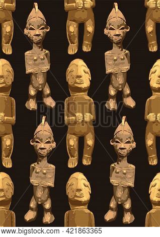 Vector Repeated Seamless Pattern Of Ancient Woodenn Sculptures Of Humans