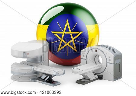 Mri And Ct Diagnostic, Research Centres In Ethiopia. Mri Machine And Ct Scanner With Ethiopian Flag,