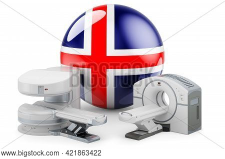 Mri And Ct Diagnostic, Research Centres In Iceland. Mri Machine And Ct Scanner With Icelandic Flag,