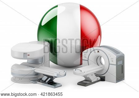 Mri And Ct Diagnostic, Research Centres In Italy. Mri Machine And Ct Scanner With Italian Flag, 3d R