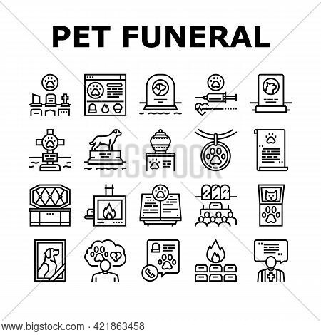 Pet Funeral Cemetery Collection Icons Set Vector. Pet Funeral Ceremony And Prayer, Individual And Co