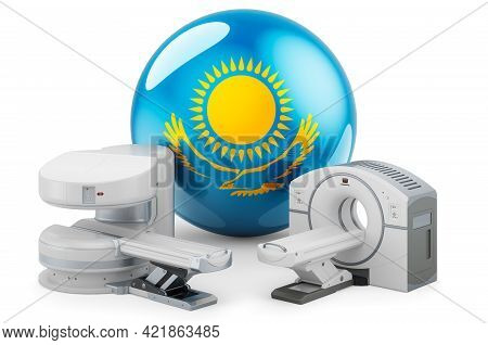 Mri And Ct Diagnostic, Research Centres In Kazakhstan. Mri Machine And Ct Scanner With Kazakh Flag,